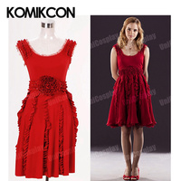 The Deathly Hallows Hermione Granger Red Sleeveless Dresses Cosplay Costume Halloween Party Dress For Woman Girls Christmas Gift