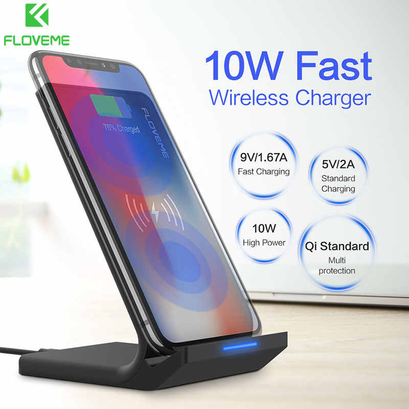 Qi Wireless Charger For iPhone X 8 XR XS Max FLOVEME 10W Fast Wireless Charging Dock Stand For Samsung Note 8 9 S8 S9 Plus S7 S6