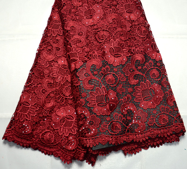 maroon cord lace 2016 women embroidery african cord lace fabrics high quality