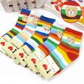 10 Pairs/lot Fashion Children Socks Cotton Cartoon Stripes Boys and Girls Socks Rainbow Bear Baby Socks TWS0280