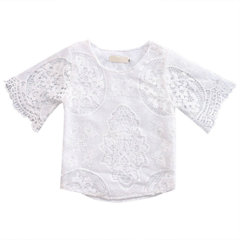 Summer Hot Selling Toddler Infant Baby Girl Lace Hollow Floral T-Shirt Outfits Graceful Solid White Fancy Sunsuit