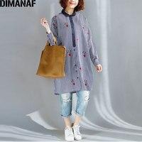 DIMANAF 2018 Spring Women Blouse Striped Fireflies Print Fashion Casual Elegant Blue Linen New O Neck