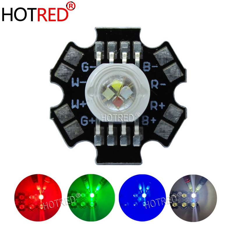 10PCS 50PCS 4W 4*3W <font><b>12W</b></font> <font><b>RGBW</b></font> RGB+White High Power <font><b>Led</b></font> Diode Chip Lamp Light Red Green Blue White with 20mm Star Base image
