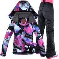 Gsou Snow Winter Clothing Women Ski Jacket Pant Windproof Waterproof Outdoor Sport Wear Skiing Snowboard Thicken