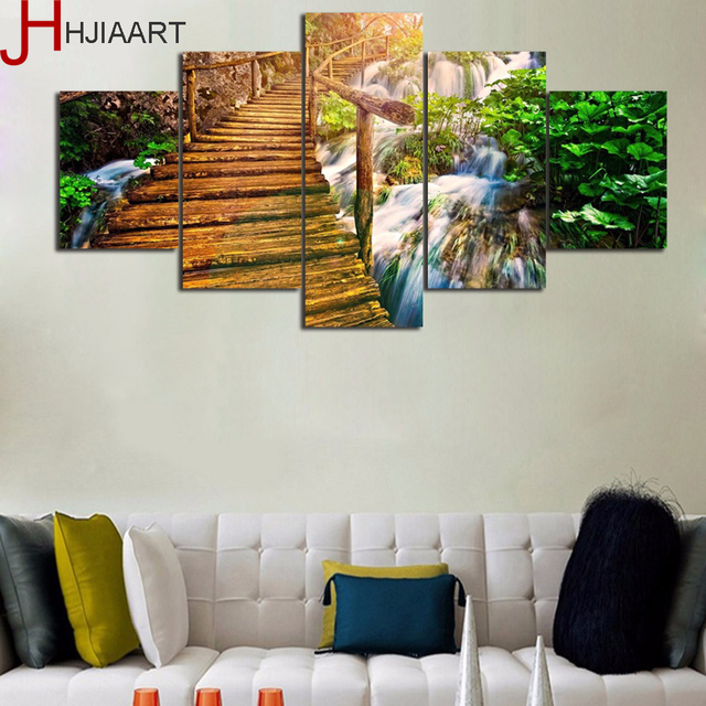 Framed Modern Waterfall and Wooden Stairs Scenery Canvas Pictures ...