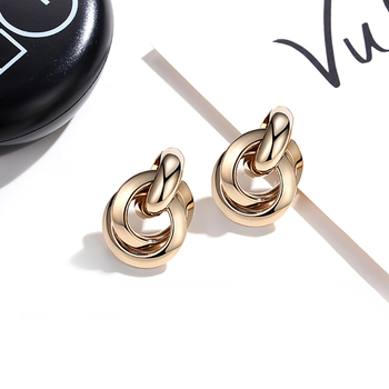 Flashbuy Gold Silver Alloy Drop Earrings For Women Exaggeration Earrings Wedding Simple Fashion Jewelry Trend Accessories 1