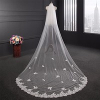 ZYLLGF Wedding Veil White Wedding Long Veil With Appliques Handmade Women Wedding Vail Made in China BL18