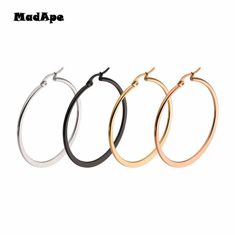 MadApe Anti-allergic Stainless Steel Hoop Earrings Brand Earrings For Women Trendy Classic Female Man Big Hoops Earrings Jewelry