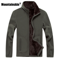 Mountainskin 6XL 8XL Mens Softshell Fleece Casual Jackets Men Warm Sweatshirt Thermal Coats Solid Thickened Brand Clothing SA041