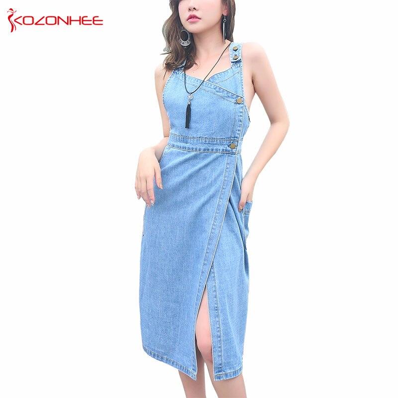 Casual Sex V Neck Lnelastic Light Blue Denim Dresses For Women Fashion Mid Calf Sleeveless Straight