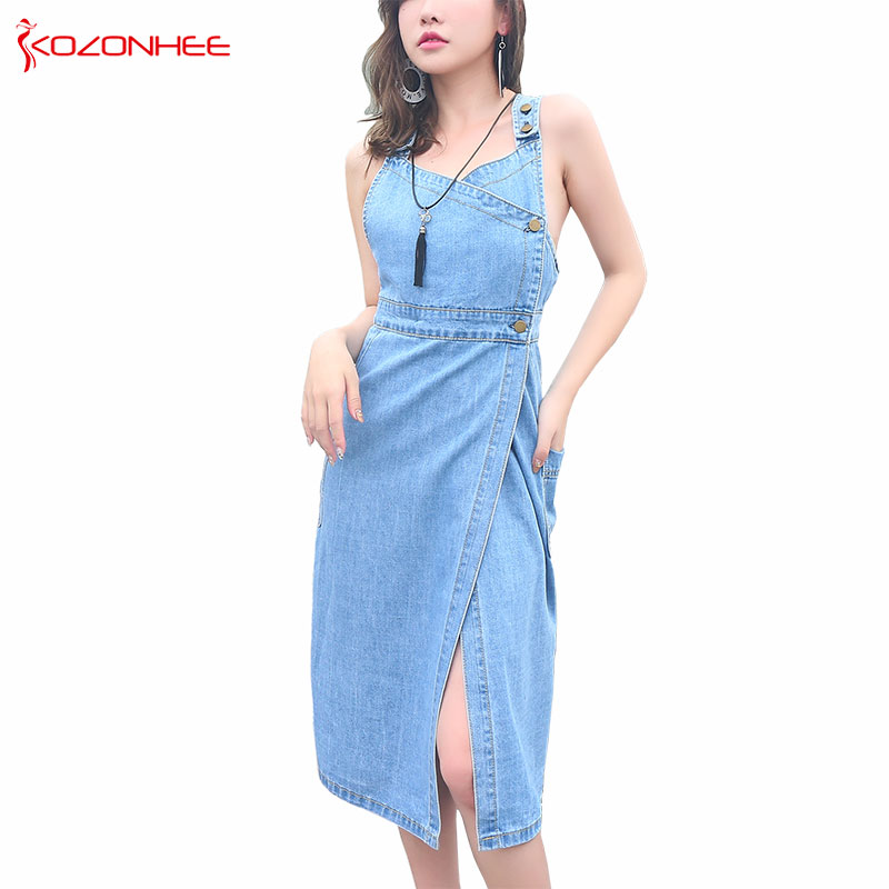 Décontracté Sex v-cou lnélastique bleu clair Denim robes pour femmes mode mi-mollet sans manches droite Denim robes femmes #7