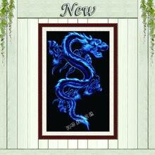 Синий дракон, черная ткань, китайские картины, рассчитанные на холсте DMC 14CT 11CT, наборы для вышивки крестиком без принта, наборы для вышивкиdecorative interior paintingpainting boxdecorative ceiling painting  АлиЭкспресс