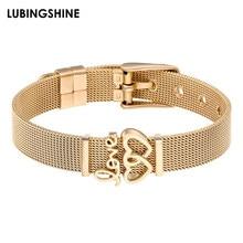 8384359df Fashion Couple Love Stainless Steel Bracelets & Bangles Gold Color Watch  Belt Cuff Bracelet for Women Men Jewelry Best Gift