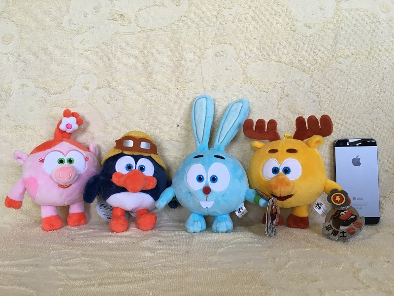 Genuine 1pcs 12cm smeshariki plush toy penguin rabbit deer pig russian cartoon Character Gogoriki doll kikopiki game image toys
