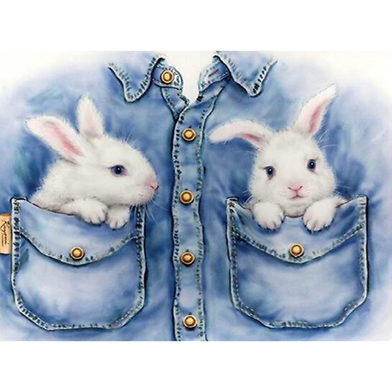 YTG Needlework Embroidery New 5D DIY Rabbit Picture Diamond Painting Cross Stitch Round Rhinestone Room Fashion Decoration Gift