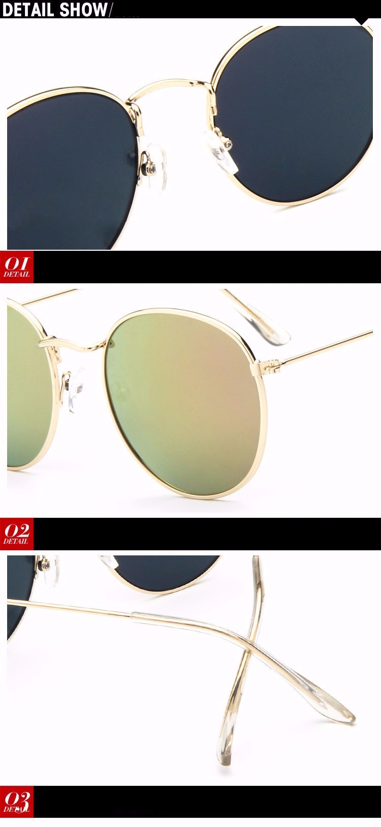 Luxury Brand Design Round Sunglasses Women Men Brand Designer Vintage Retro Mirror Sun Glasses For Women Female Ladies Sunglass (17)