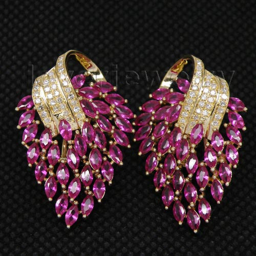 Vintage 18kt Yellow Gold Natural Diamond Pink Red Corund Earrings For Women Jewelry Gift E153a