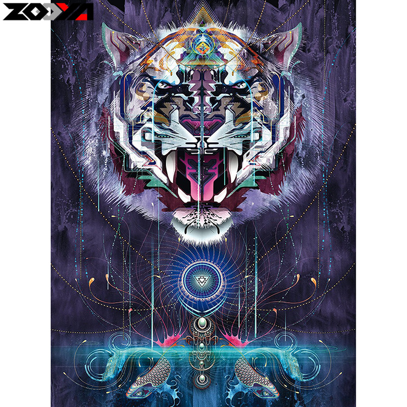 ZOOYA Full Square drill 5D DIY Diamond embroidery Aggressive tiger Diamond Painting Cross Stitch Rhinestone Mosaic decor gift