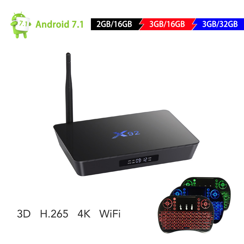 Originale X92 3 GB + 32 GB Android 7.1 Amlogic S912 Lettore Smart TV Box Octa Core KD 4 K h.265 Bluetooth 4.0 Set Top Box PK T9