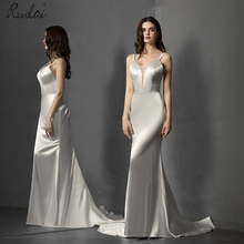 2019 Newest Arrival Simple Mermaid Wedding Dress Ivory Long Spaghetti Straps Wedding Gown for Bride vestido de noiva