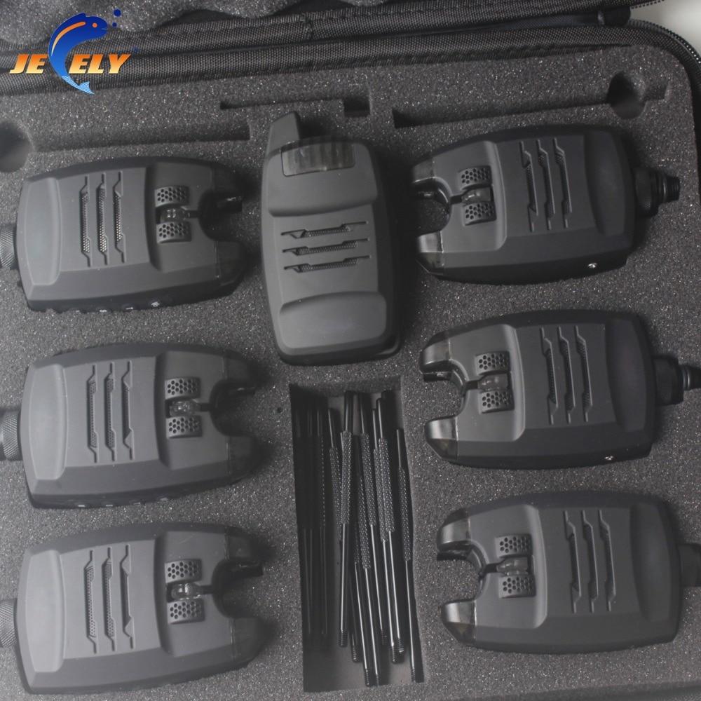 Jeely 6 + 1/4 + 1 Allarme di Pesca Alla Carpa Set di Suoni e LED di Allarme Senza Fili Da Pesca Morso Allarme indicatore Elettronico con Intoppo Dell'orecchio Bar