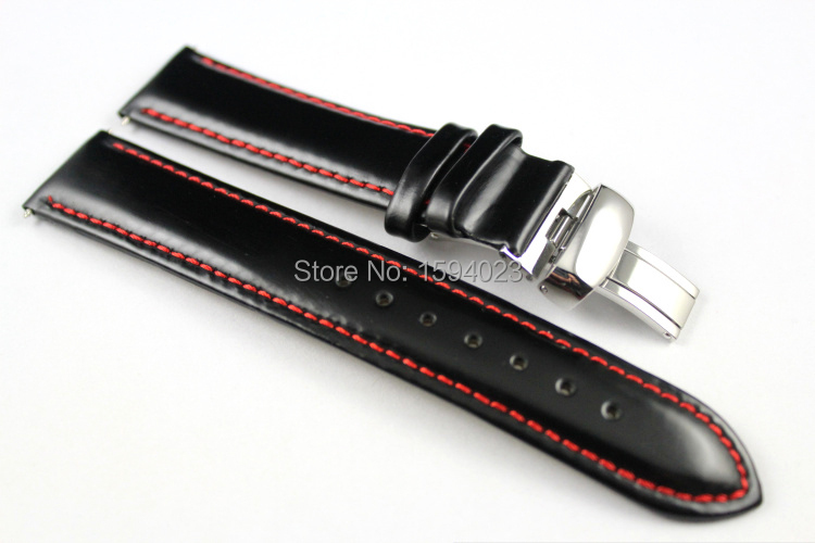 19mm (Buckle18mm) PRC200 T067417A High Quality Silver Butterfly Buckle + Black Genuine Leather Red Line Watch Bands Strap
