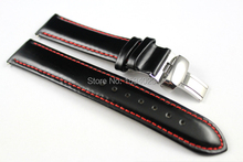 19mm Buckle18mm PRC200 T067417A High Quality Silver Butterfly Buckle Black Genuine Leather Red Line Watch Bands
