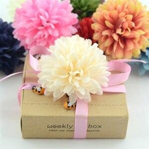 Image 2 - 5PCS 7Cmเบญจมาศประดิษฐ์ดอกไม้ผ้าไหมสำหรับงานแต่งงานหน้าแรกตกแต่งScrapbooking DIYไฮเดรนเยียดอกไม้