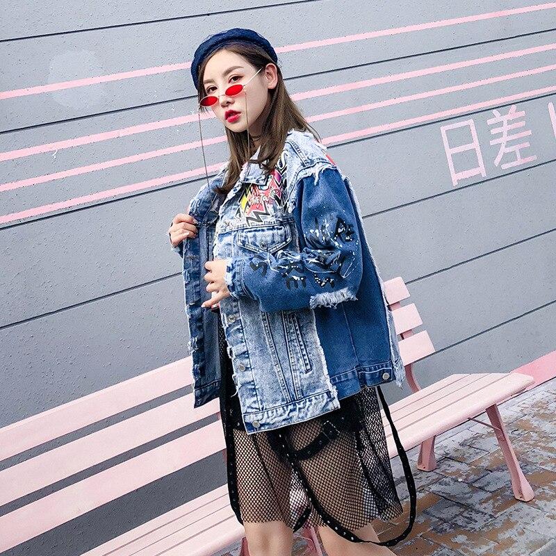 Punk Femmes Trous 2018 Veste Graffiti Denim Neige Jean De Araignée Manteau En Imprimé Streetwear Beau Lt688s50 Vintage w0xY7