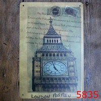 London Big Ben Printing Metal Wall Sticker Vintage Blue Style Tin Sign Iron Antique Tin Painting Pub DECOR 20X30CM House Decor