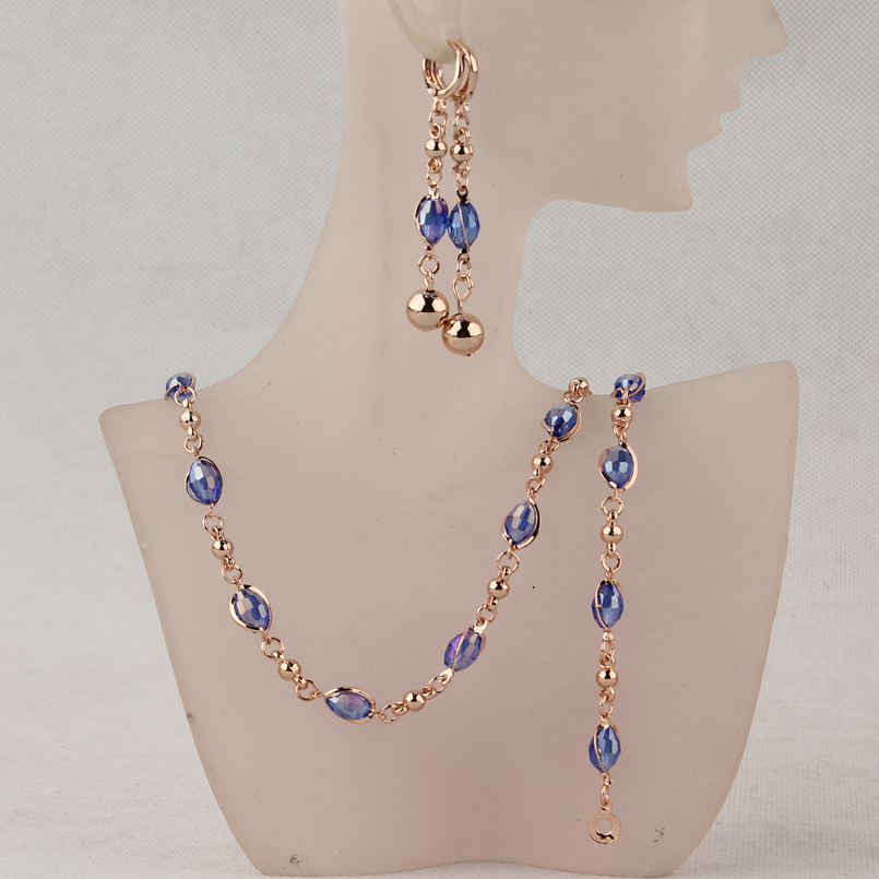 Women's Goldcolor Blue Austrian Crystal Necklace Bracelet Earrings Wedding/Bride Jewelry Sets Gift
