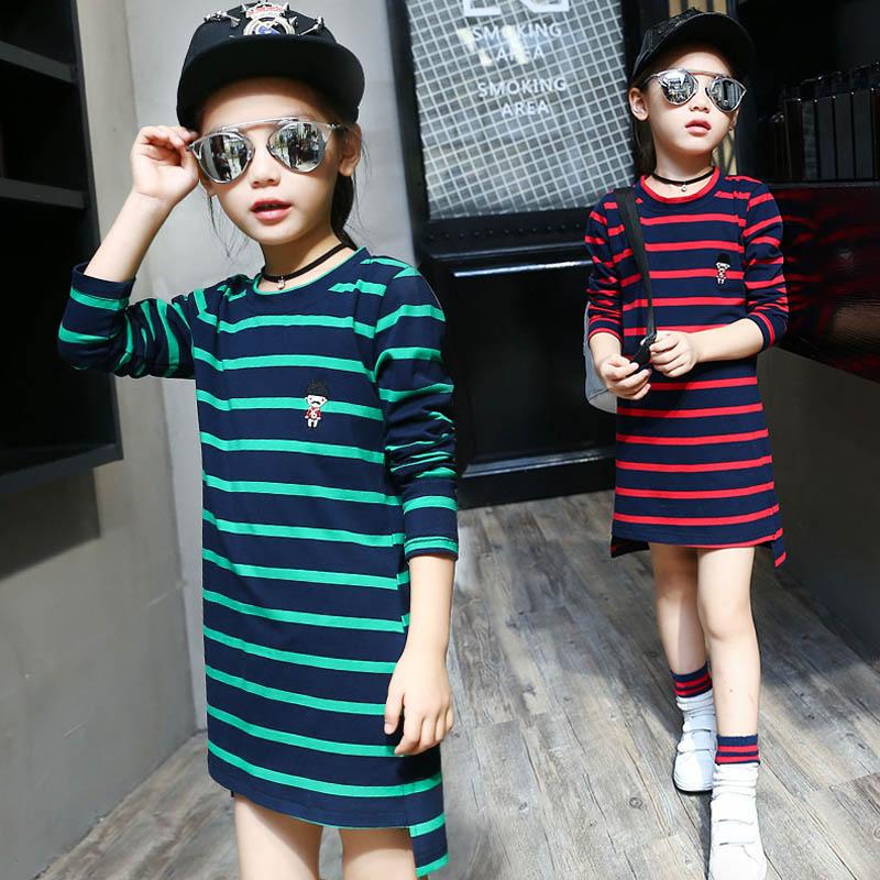 Spring Autumn Long T-shirt Girl Striped Tshirt Kids Cotton Girls T Shirt 6 8 10 12 13 Tee Shirt Enfant Girls Clothes