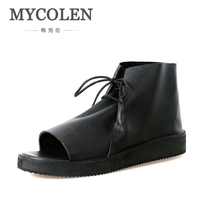 MYCOLEN New Summer Men Sandals Genuine Leather Breathable England Ankle Strap Casual Shoes Solid Outdoor Beach Leisure Shoes