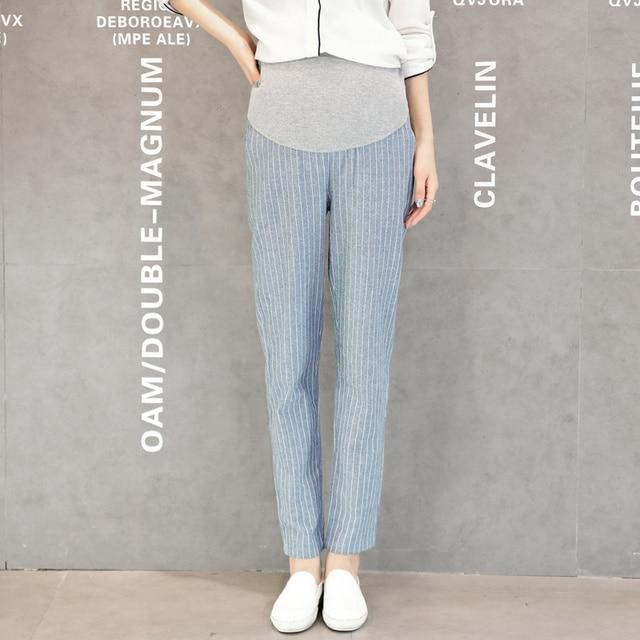 Fashion Stripe Elastic Maternity Pants Leggings Spring/Fall Maternity Clothes for Pregnant Women Pencil Pants Pregnantcy B294
