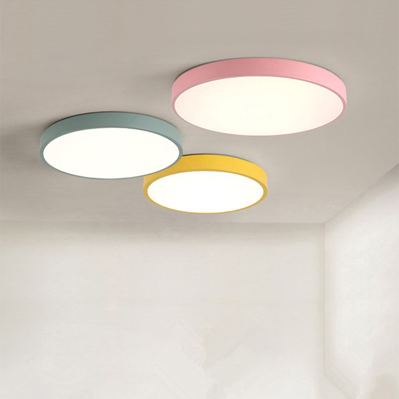 Modern ceiling light round Macarons lighting iron metal Acrylic kitchen bed room foyer LED chip lamp decoration light fixture