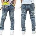 Marca Crianças Jeans Meninos 2016 Crianças de Moda Buraco Quebrado Calças Jeans Cintura Elástica Crianças Calças Crianças Roupas Para 3-7A