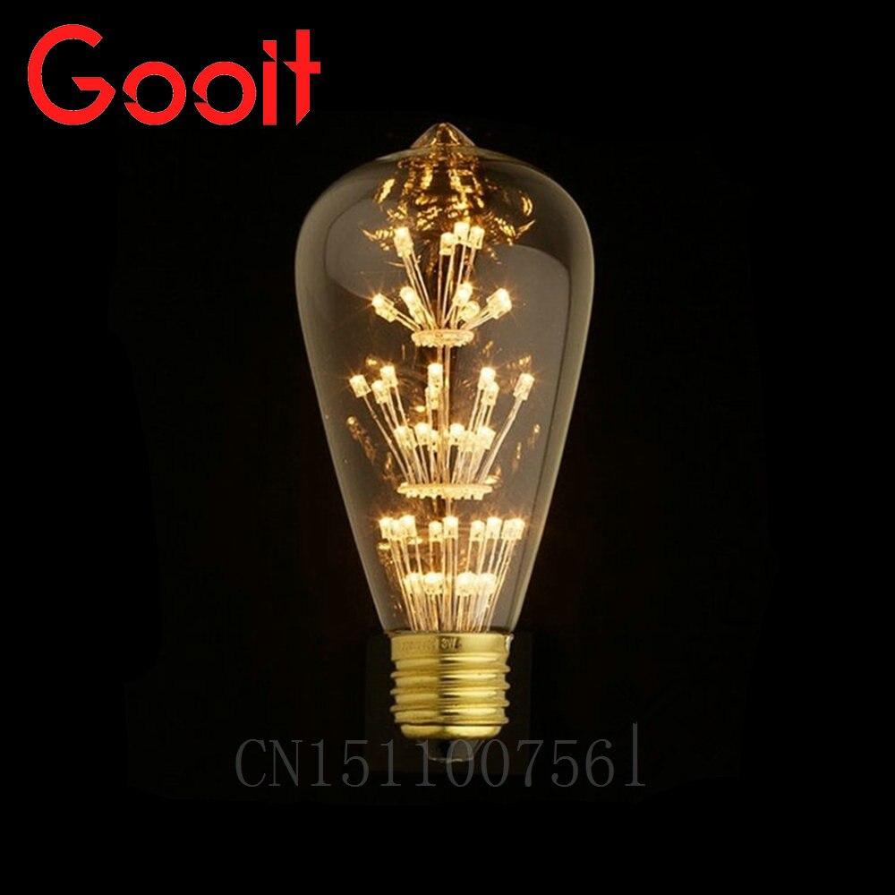 Led Retro Vintage Edison Light Bulb E27 220V 3W Incandescent Light Bulbs ST64 A19 G95 led Cob Bulb Edison Lamps Fixtures