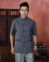 Chinese Tradtional Tops Mens Linen Short-Sleeve Shirt Size S to 3XL