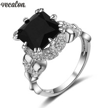 Vecalon Antique Women Skull ring Black AAAAA Zircon cz Wedding Band Rings for Women White Gold Filled Punk Finger ring