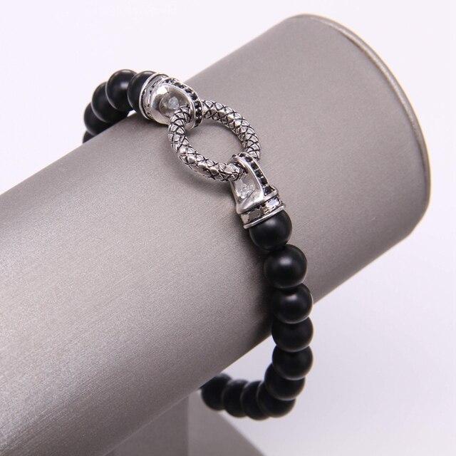 Фото матовый браслет из бисера thomas black obsidian с круглой застежкой цена