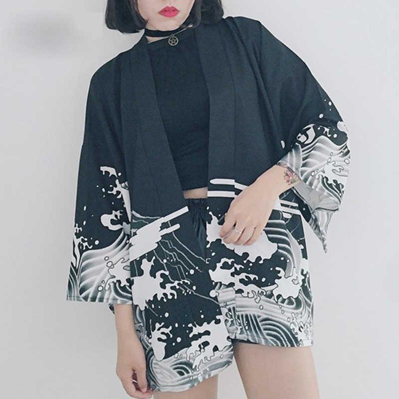Bella 哲学日本印刷ヴィンテージ原宿スタイルブラウス波風ドラゴンシャツ日本バットウィングスリーブ着物ヴィンテージトップ