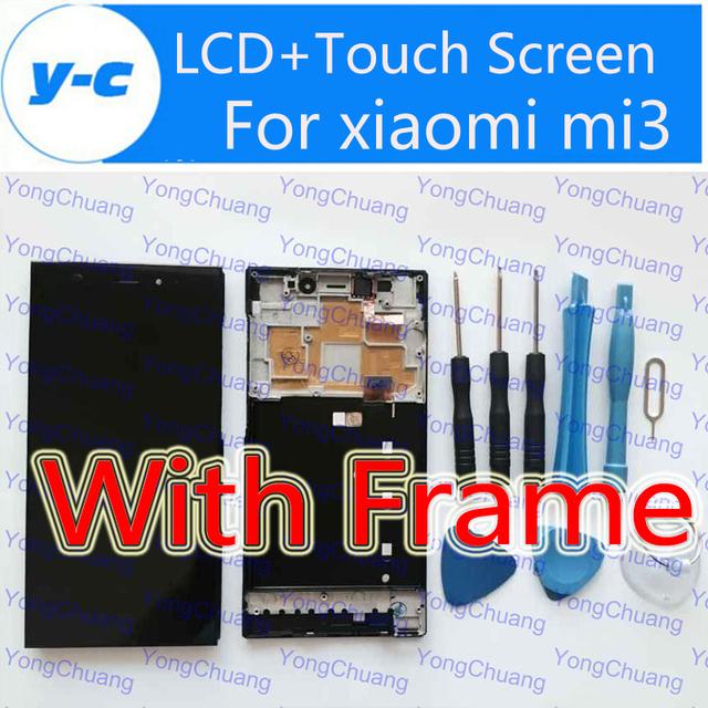 Alta calidad lcd + pantalla táctil con el marco para el reemplazo de cristal del panel de visualización digital para xiaomi m3 xiaomi mi3 wcdma teléfono
