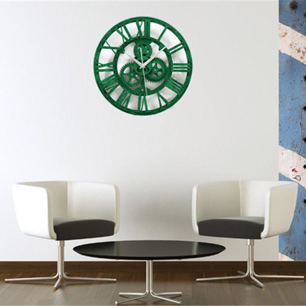 Green Gear Industrial Wall Clock Vintage Retro Large Art Design ...
