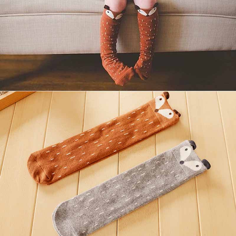 1 Para Cartoon Fox Muster Baby Socken Neugeborenen Kinder Baumwolle Arm Beinwärmer Baby Boden Socken Kinder Mittleren Länge Socken