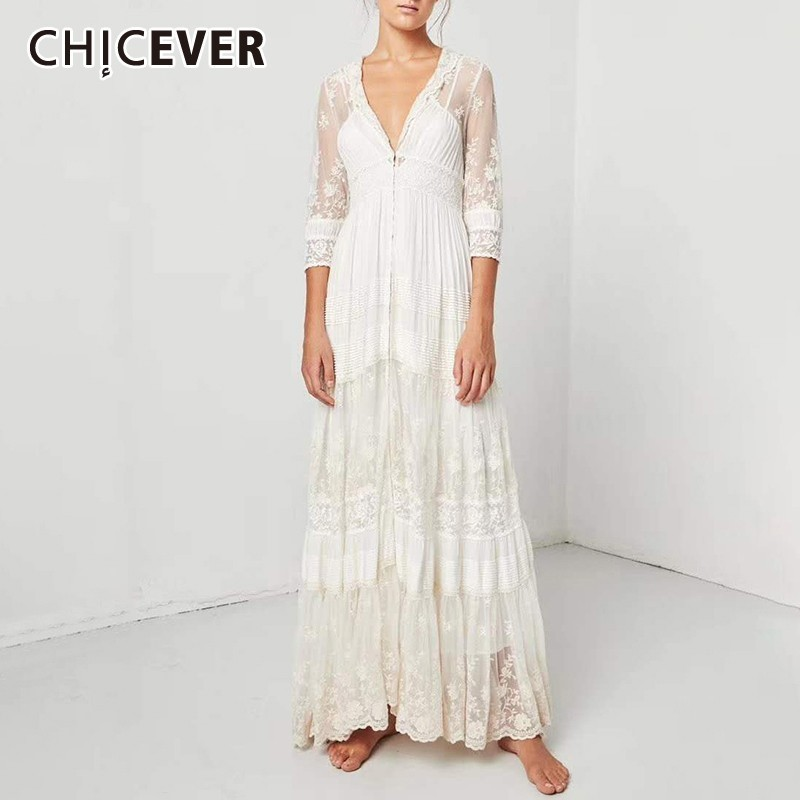 CHICEVER Summer Bohemian Perspective Embroidery Dress For Women V Neck Three Quarter Sleeve High Waist Pleated Hem A-line 2020
