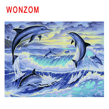 WONZOM Dolphin Painting By Numbers Abstract Animal Oil Sea Wave Cuadros Decoracion Acrylic Paint On Canvas Modern Art