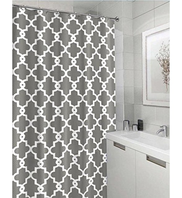 Memory Home Geometric Patterned Waterproof Polyester Fabric Grey Shower Curtain For Bathroom Decor Multi Size Curtains