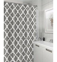 Memory Home Geometric Patterned Waterproof Polyester Fabric Grey Shower Curtain For Bathroom Decor Multi Size Shower