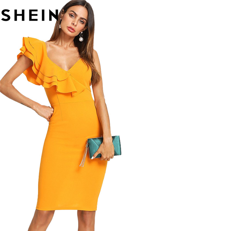 85a558bd10 SHEIN Sleeveless Ruffle Layered Flounce Trim Split Back V Neck Party  Bodycon Dress Women Summer Knee Length Slim Pencil Dress – zzoot