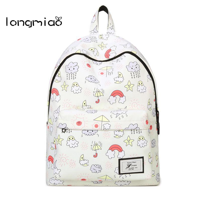 longmiao 2017 Women Backpacks Cartoon Weather Printing School Backpack Canvas Schoolbags for Teenage Girls Students Bag
